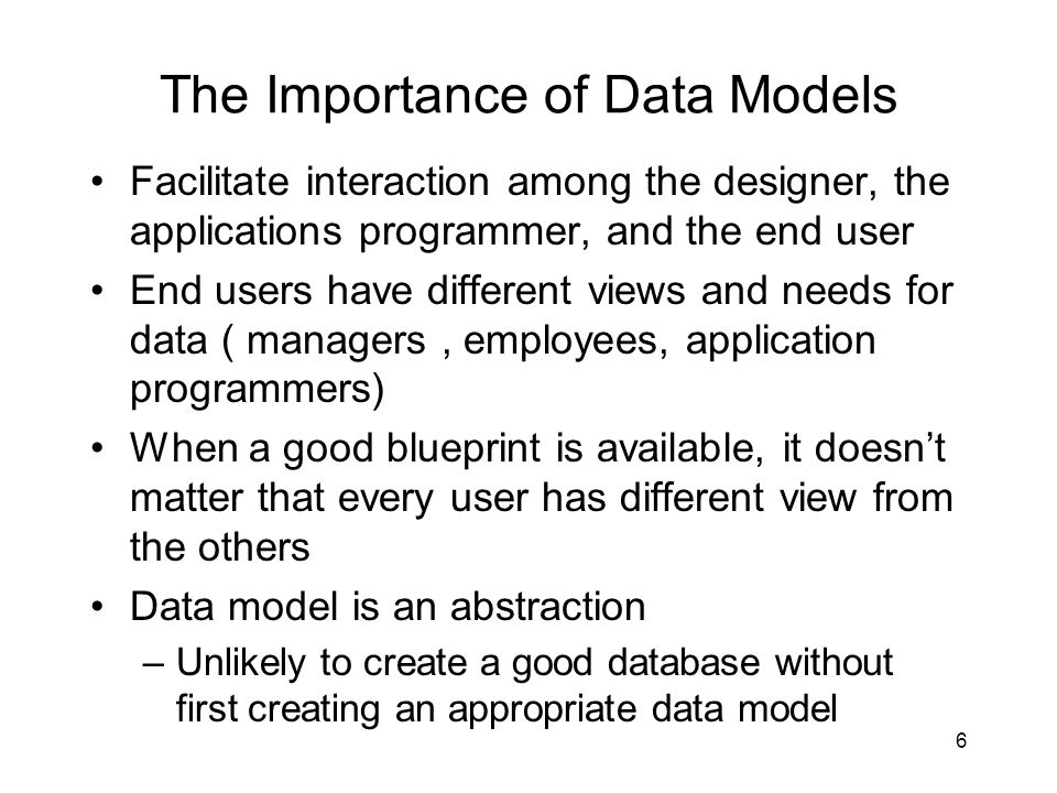 The Importance of Data Models