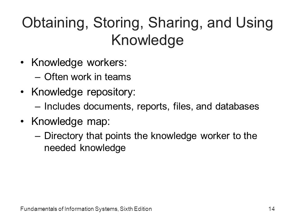Obtaining, Storing, Sharing, and Using Knowledge