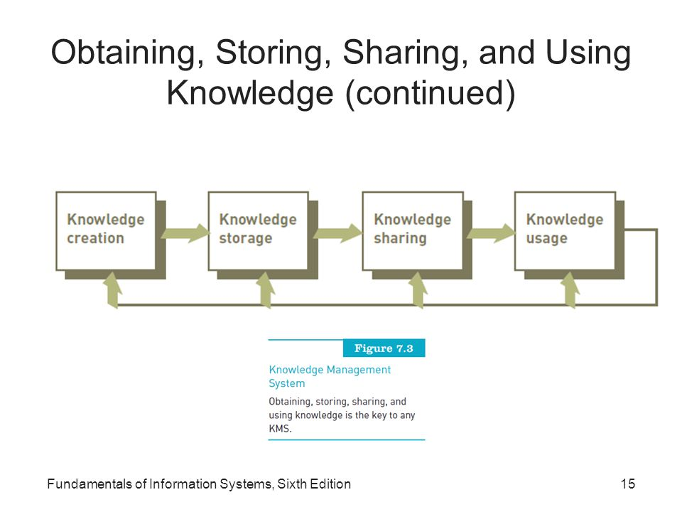 Obtaining, Storing, Sharing, and Using Knowledge (continued)