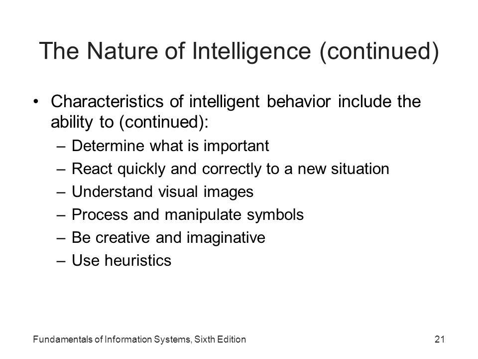The Nature of Intelligence (continued)