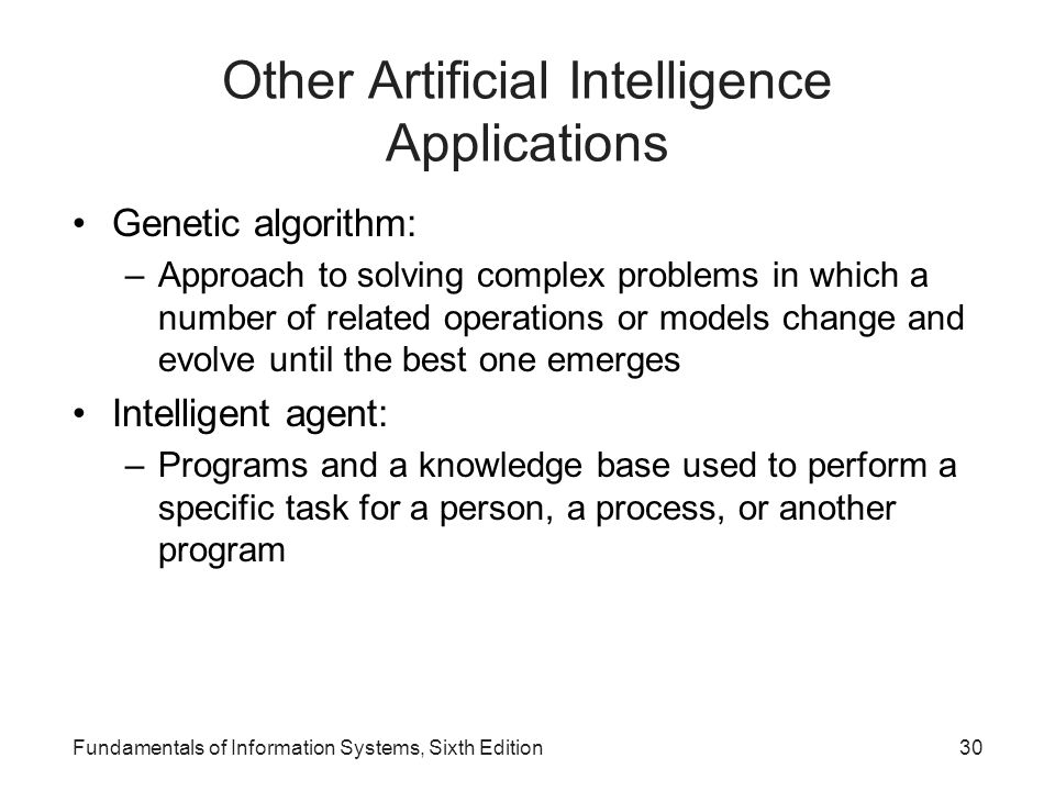 Other Artificial Intelligence Applications