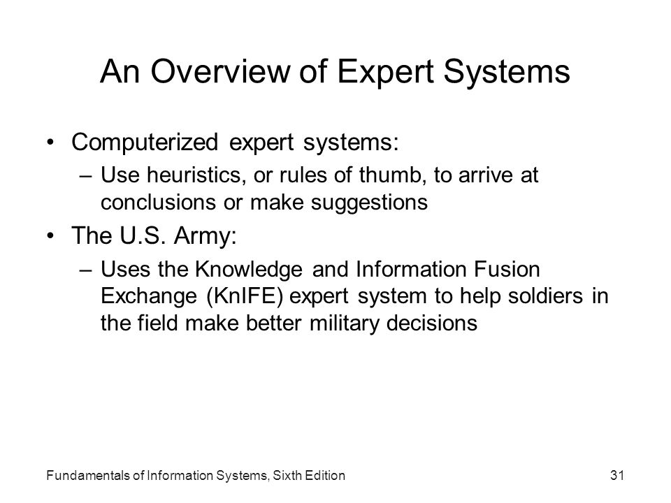 An Overview of Expert Systems