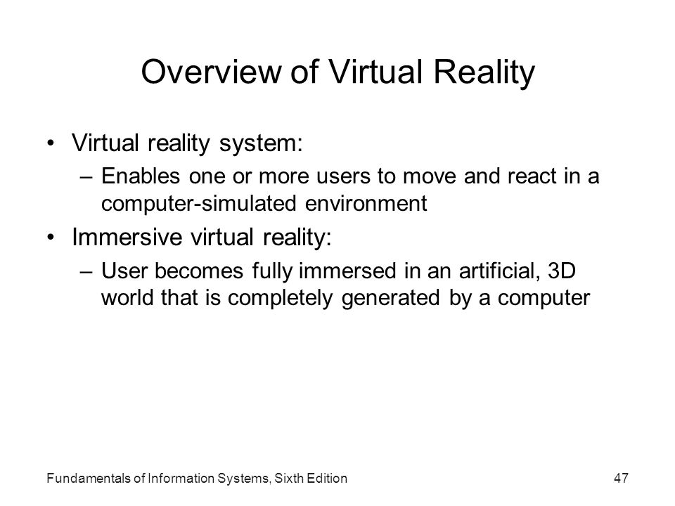 Overview of Virtual Reality