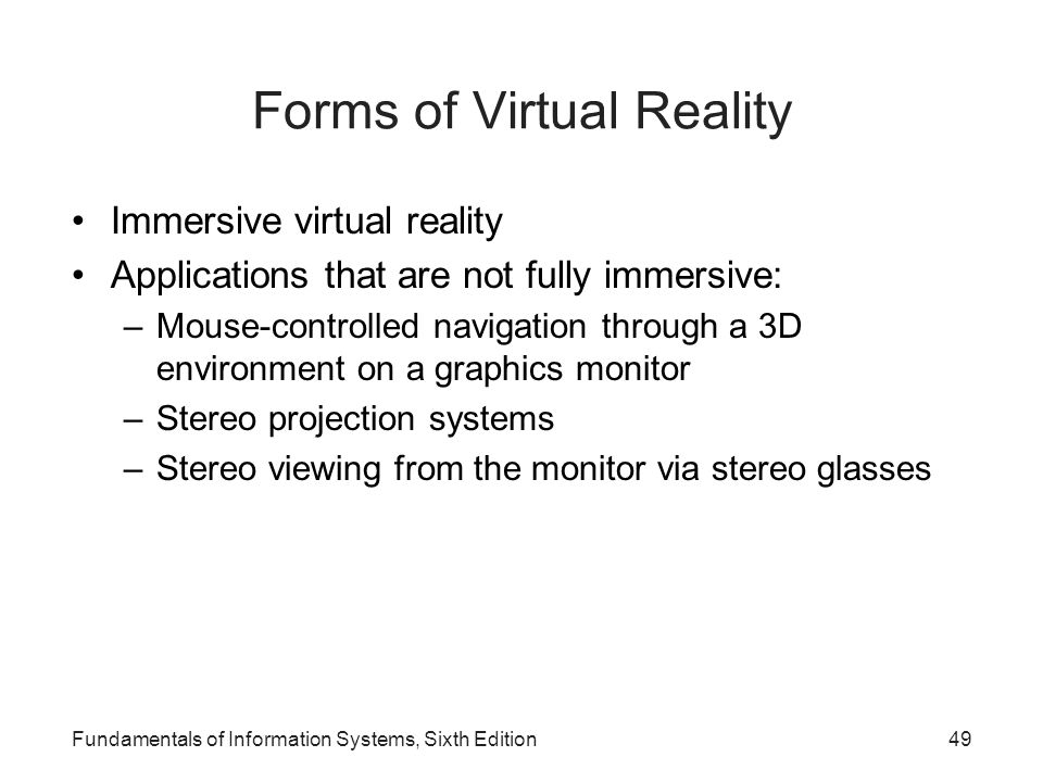 Forms of Virtual Reality