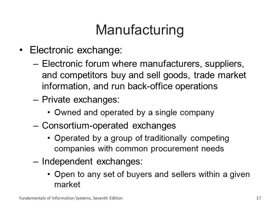 Manufacturing Electronic exchange: