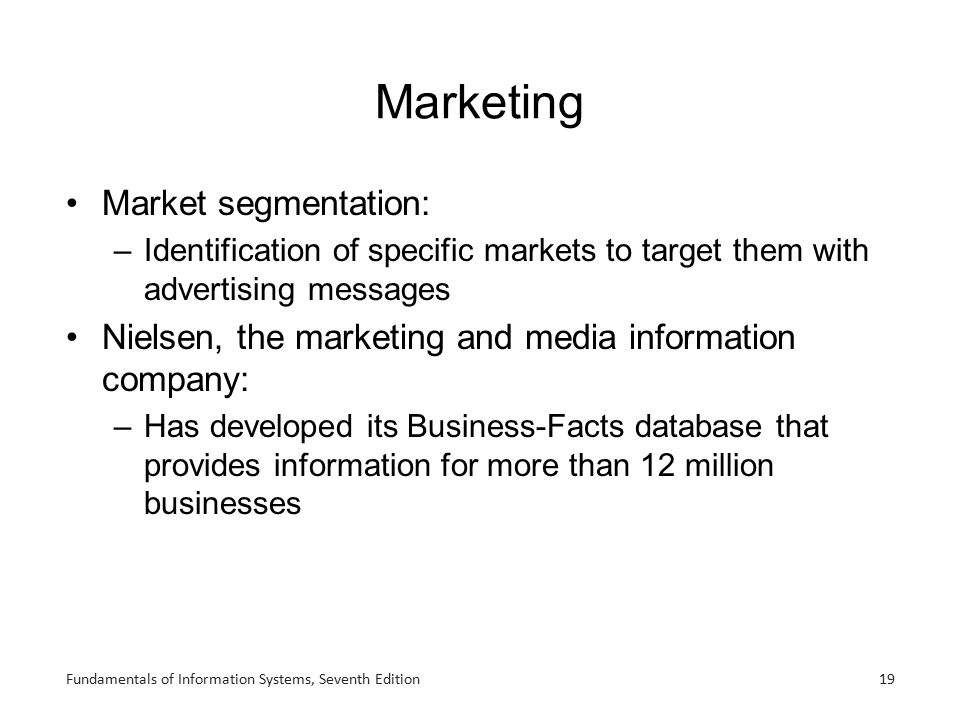 Marketing Market segmentation: