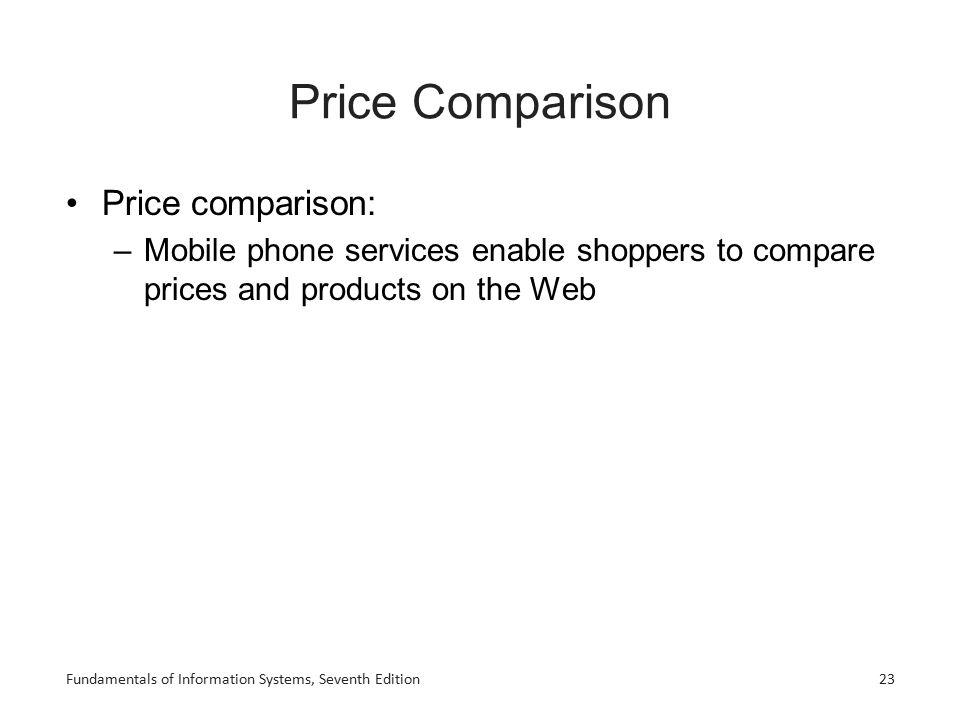 Price Comparison Price comparison: