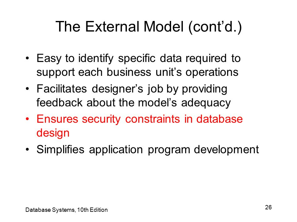 The External Model (cont'd.)