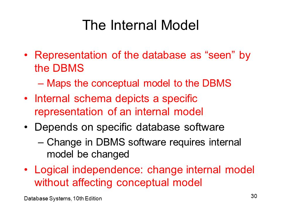The Internal Model Representation of the database as seen by the DBMS. Maps the conceptual model to the DBMS.
