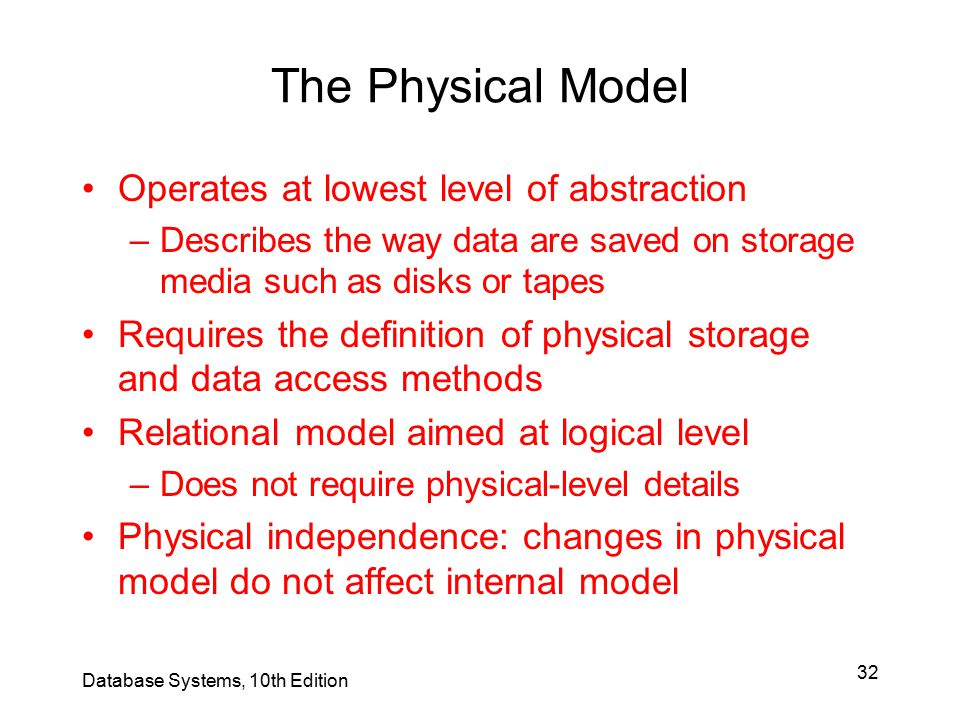 The Physical Model Operates at lowest level of abstraction