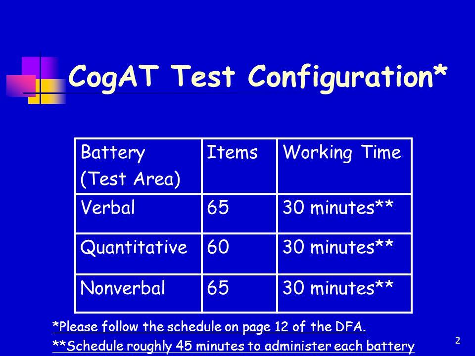 CogAT Test Configuration*
