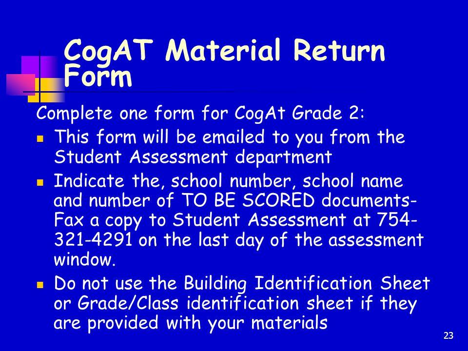 CogAT Material Return Form