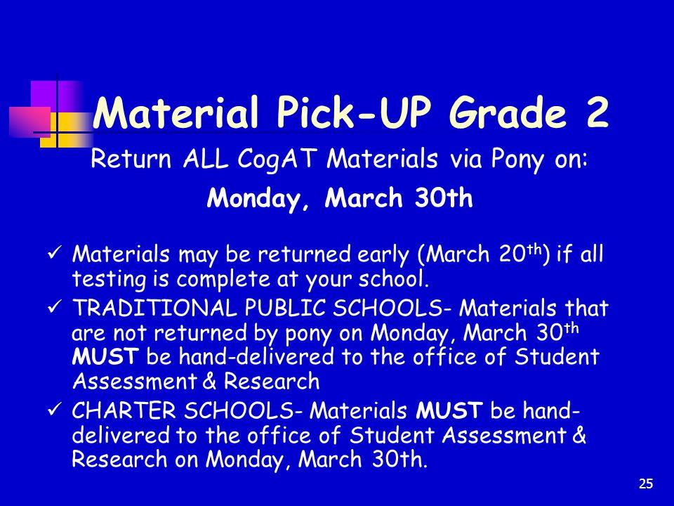 Material Pick-UP Grade 2