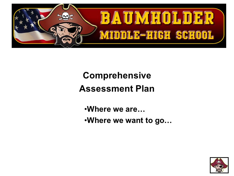 Comprehensive Assessment Plan Where we are… Where we want to go…