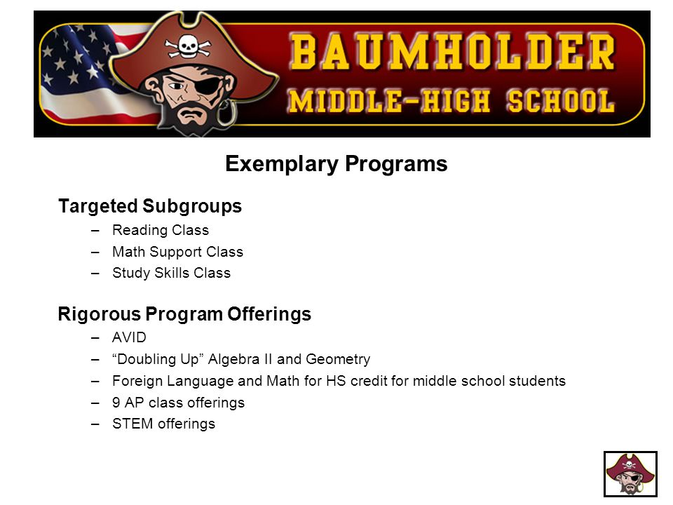 Exemplary Programs Targeted Subgroups Rigorous Program Offerings