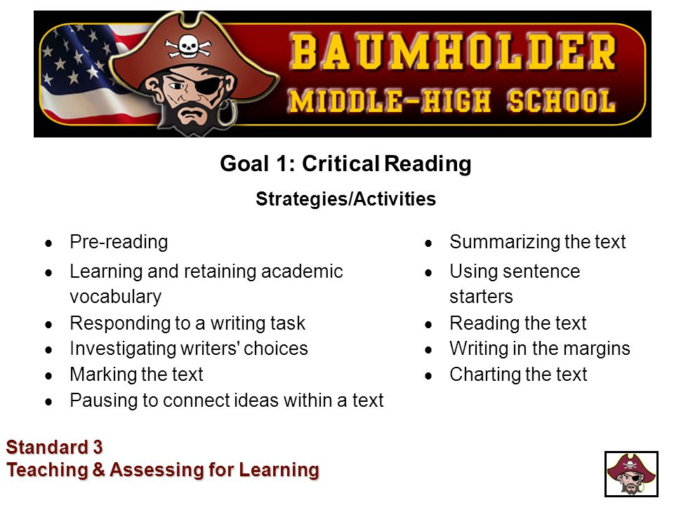 Goal 1: Critical Reading Strategies/Activities