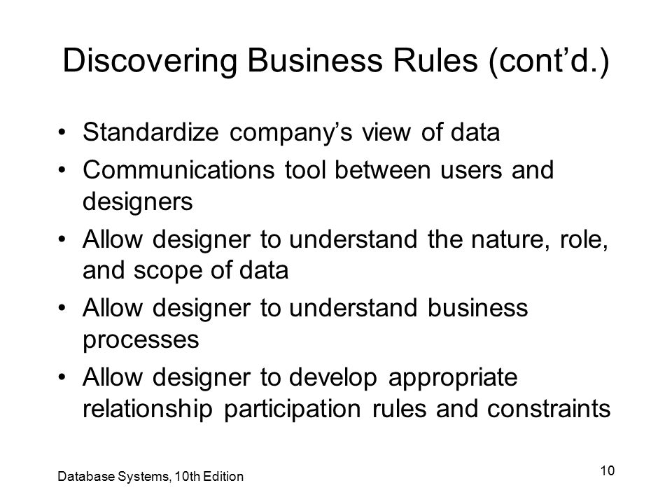 Discovering Business Rules (cont'd.)