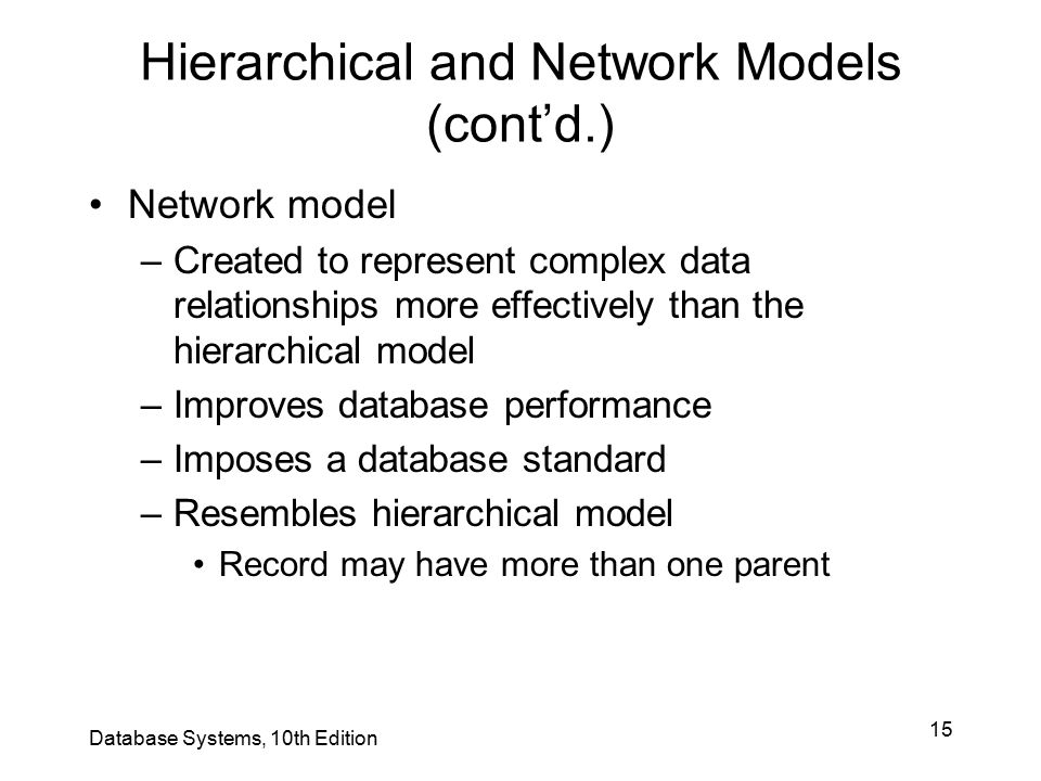 Hierarchical and Network Models (cont'd.)