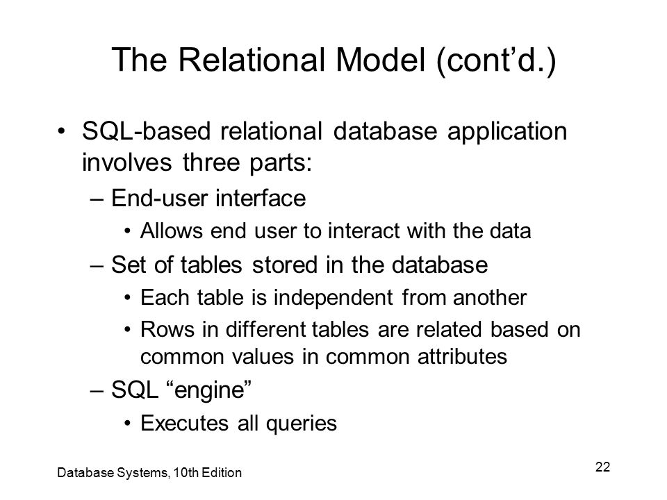 The Relational Model (cont'd.)