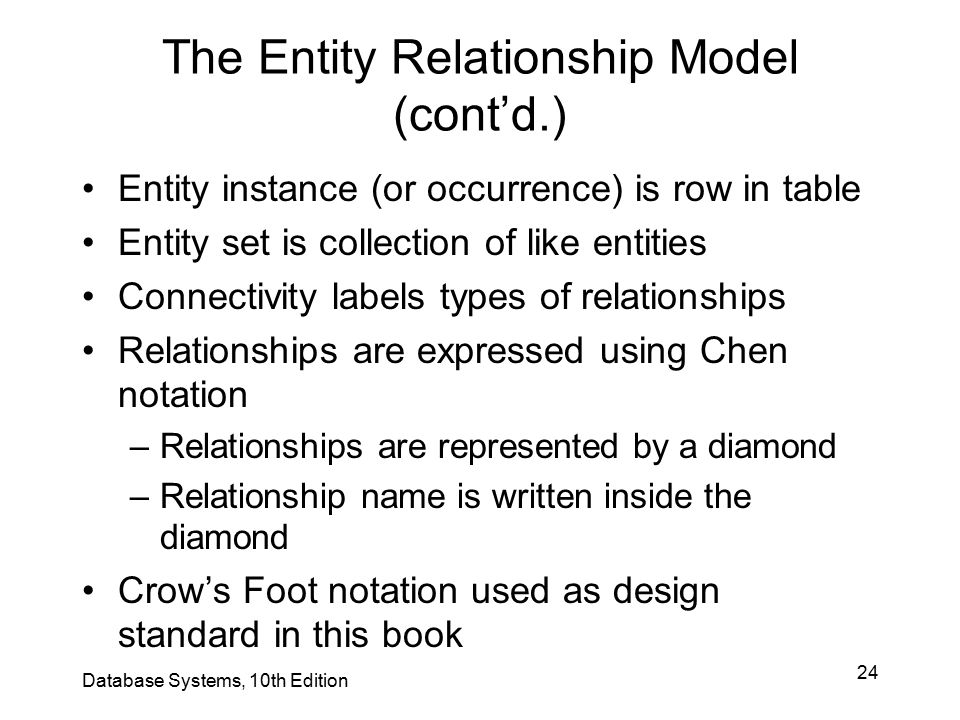 The Entity Relationship Model (cont'd.)