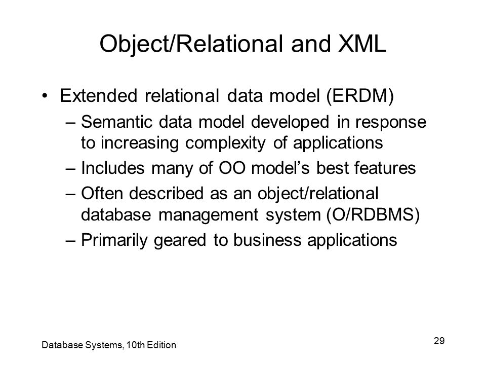 Object/Relational and XML