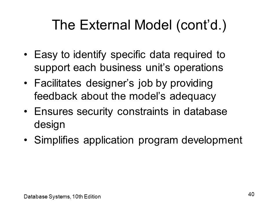 The External Model (cont'd.)