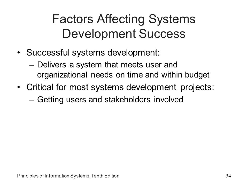 Factors Affecting Systems Development Success