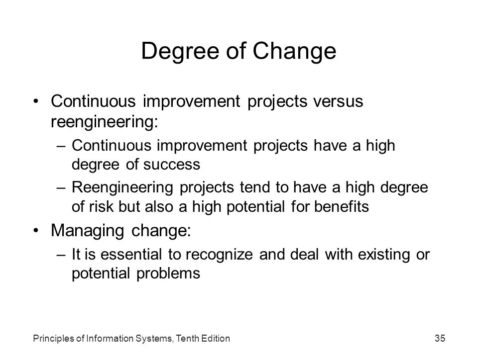 Degree of Change Continuous improvement projects versus reengineering: