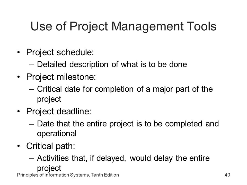 Use of Project Management Tools