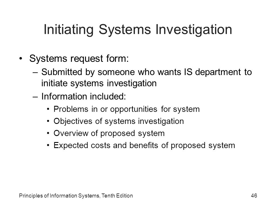 Initiating Systems Investigation