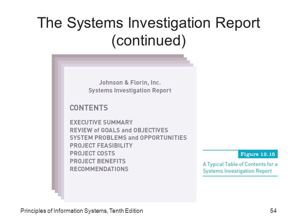The Systems Investigation Report (continued)