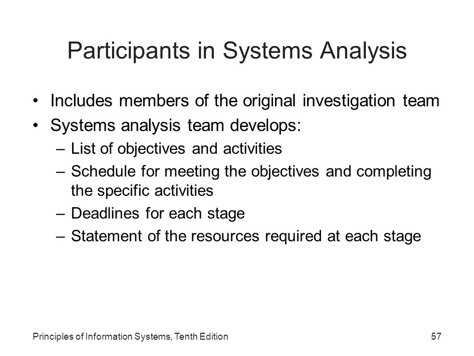 Participants in Systems Analysis