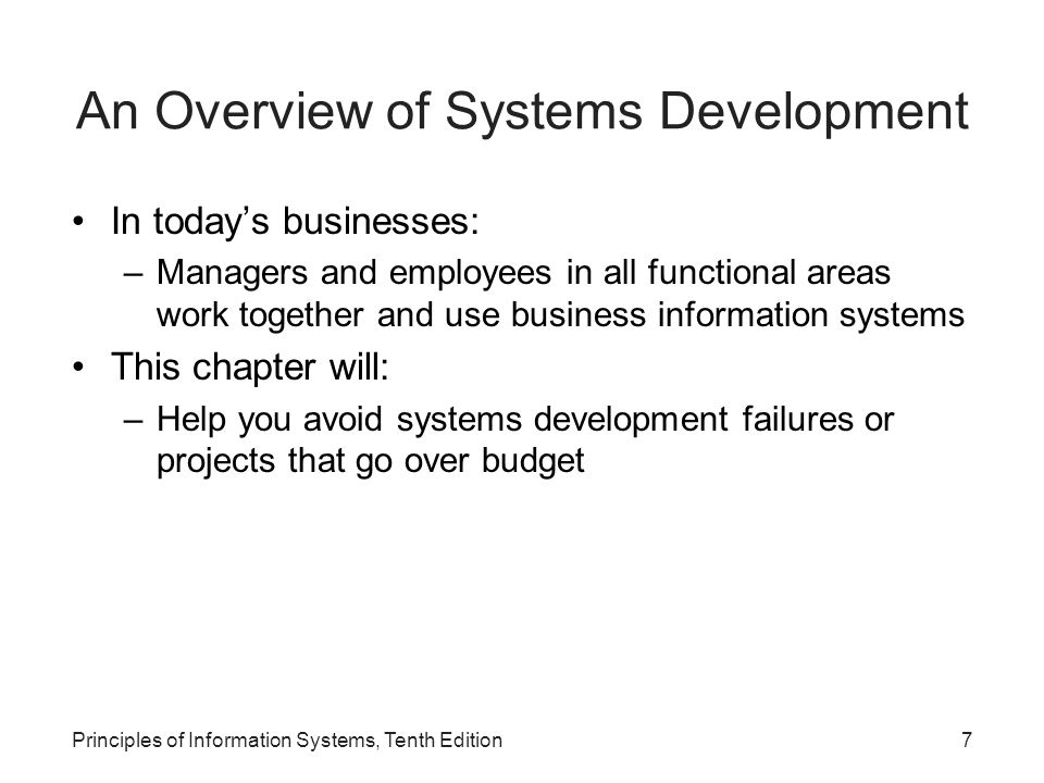 An Overview of Systems Development