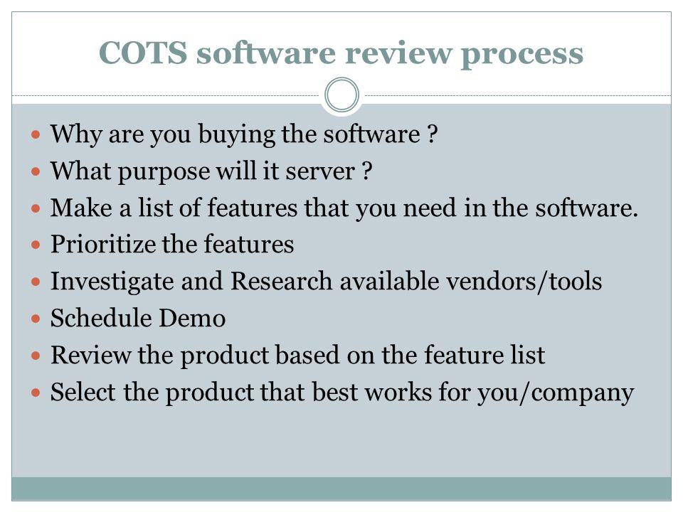 COTS software review process