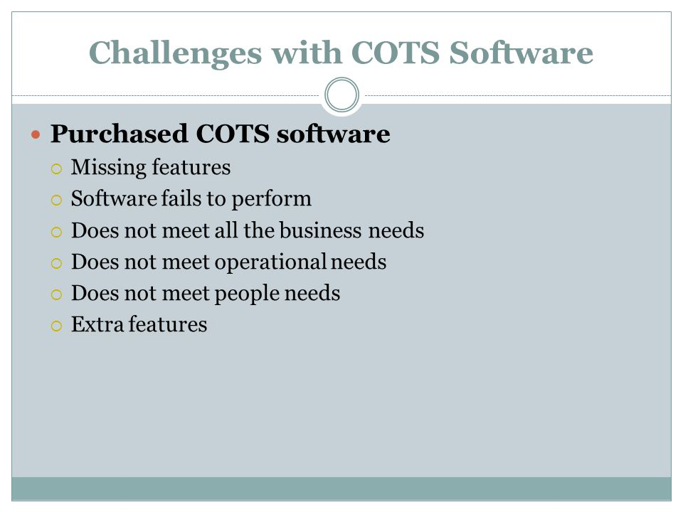 Challenges with COTS Software