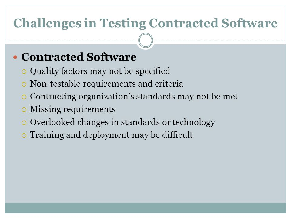 Challenges in Testing Contracted Software