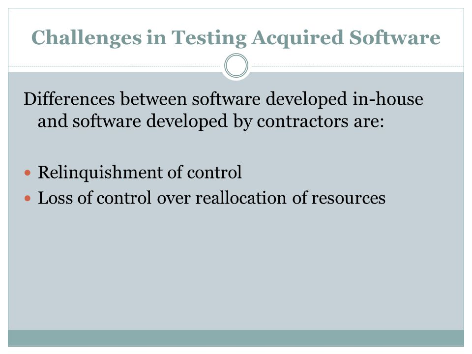 Challenges in Testing Acquired Software