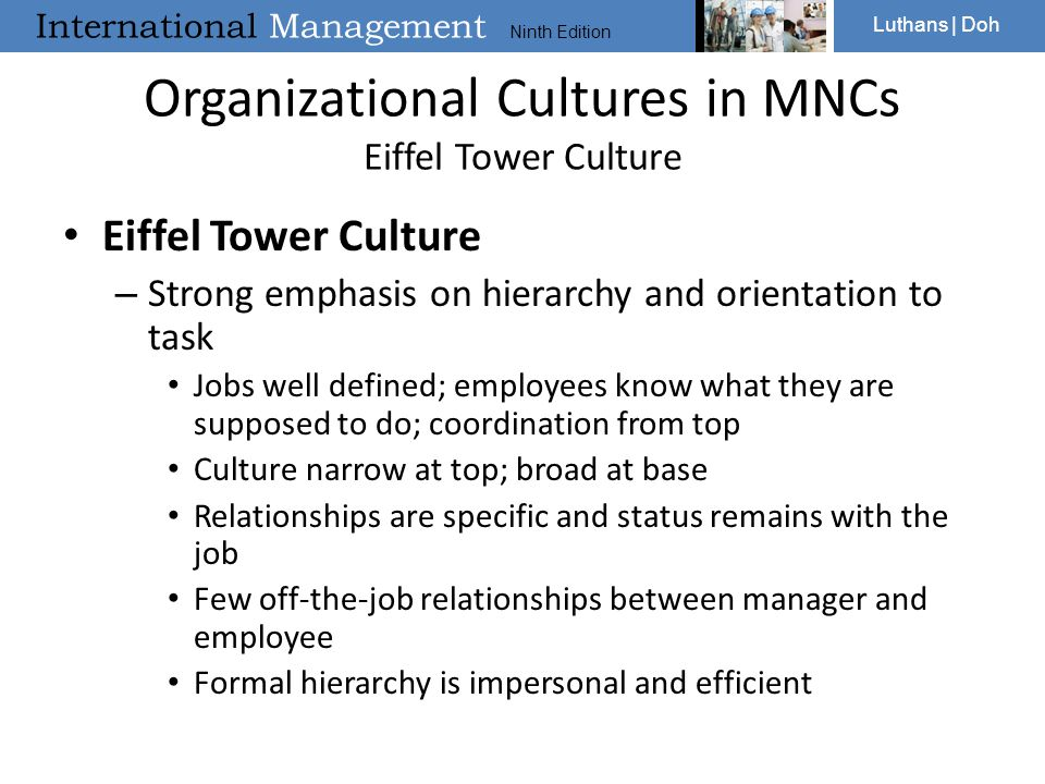 Organizational Cultures in MNCs Eiffel Tower Culture