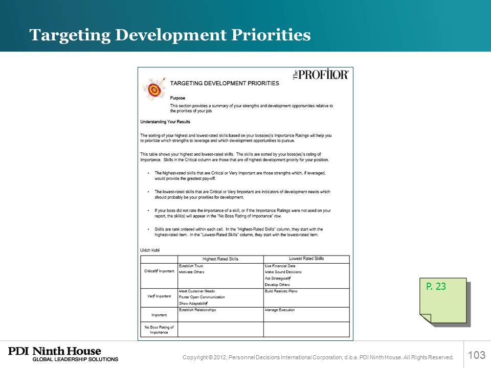 Targeting Development Priorities