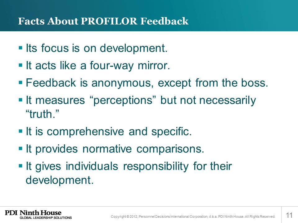 Facts About PROFILOR Feedback