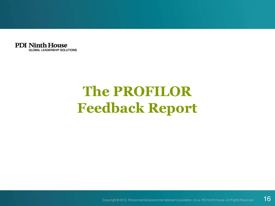 The PROFILOR Feedback Report