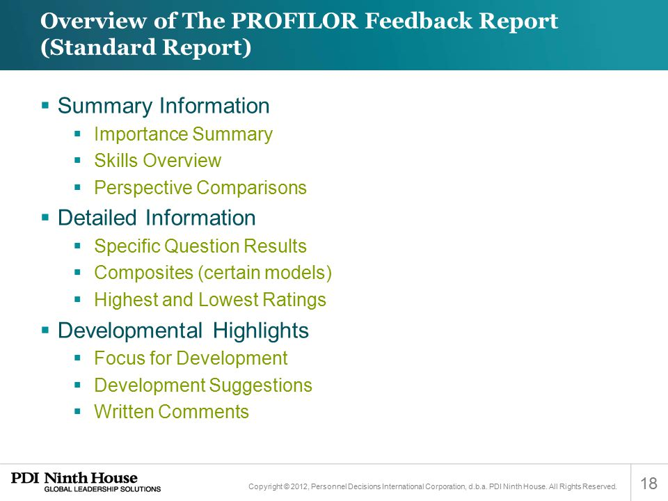 Overview of The PROFILOR Feedback Report (Standard Report)