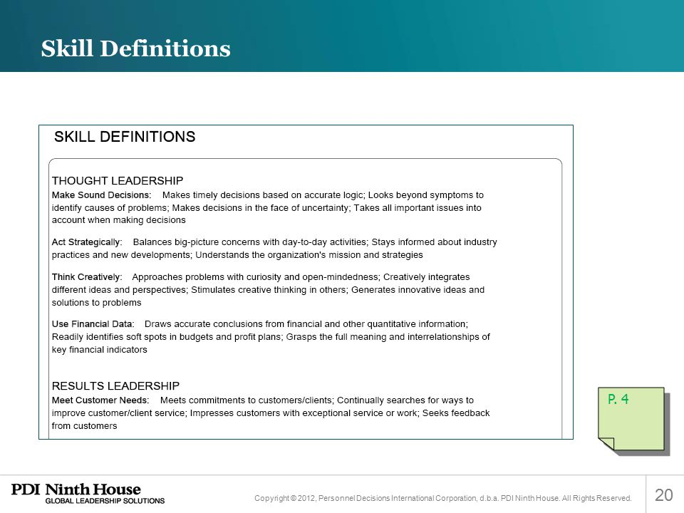 Skill Definitions P. 4