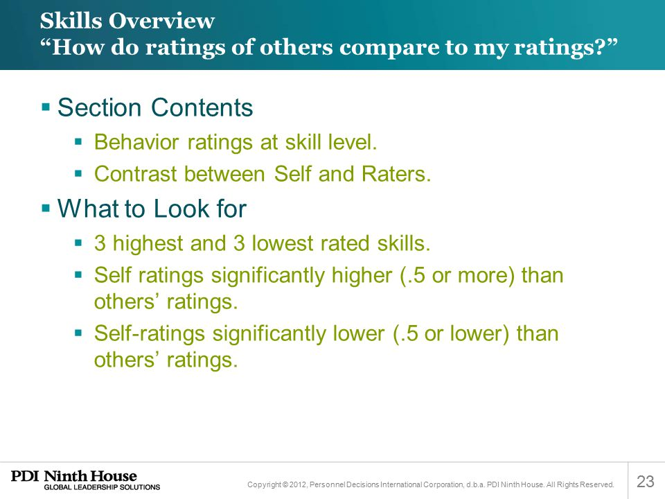 Skills Overview How do ratings of others compare to my ratings