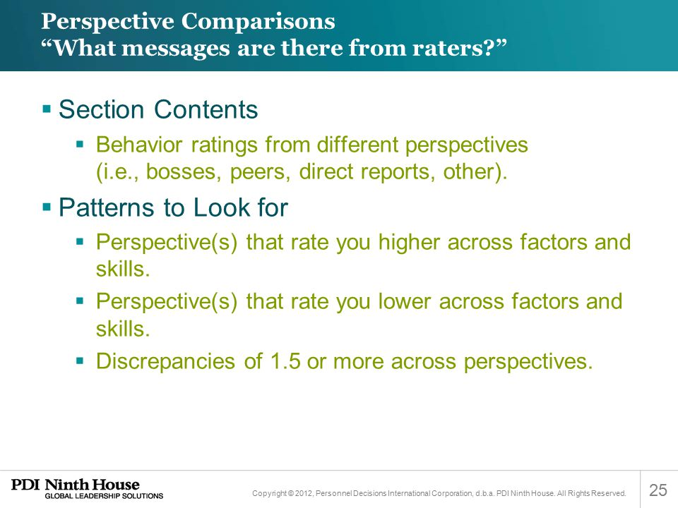Perspective Comparisons What messages are there from raters