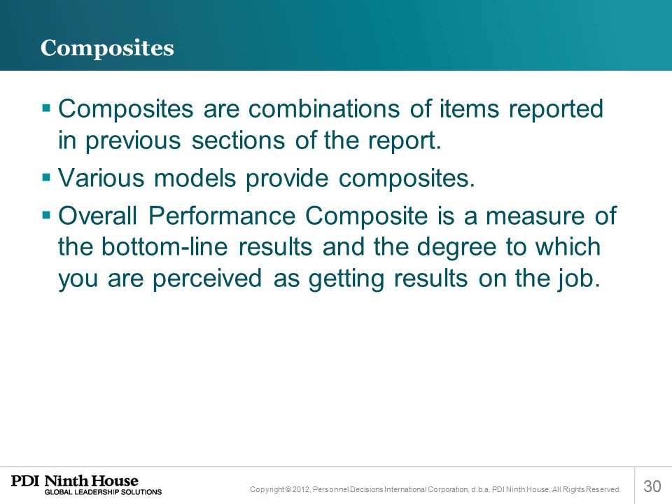Various models provide composites.