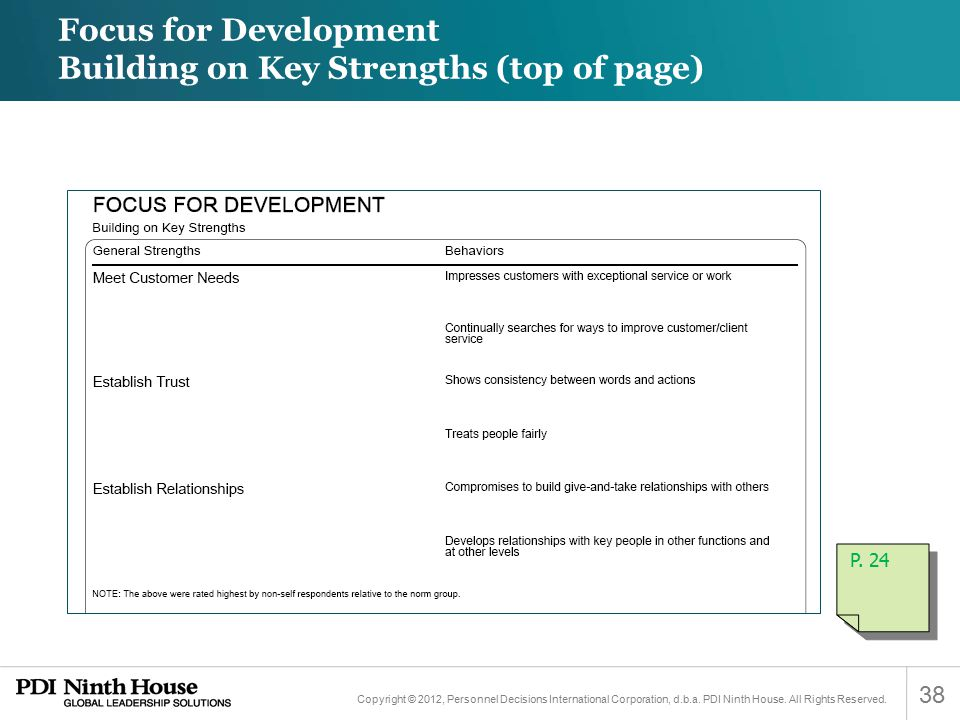 Focus for Development Building on Key Strengths (top of page)