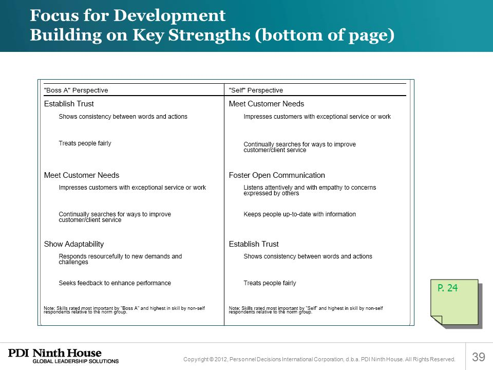 Focus for Development Building on Key Strengths (bottom of page)