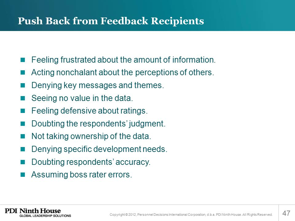 Push Back from Feedback Recipients