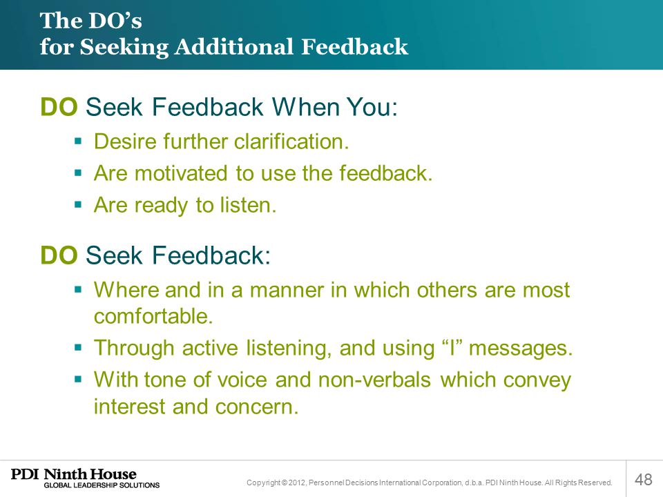 The DO's for Seeking Additional Feedback
